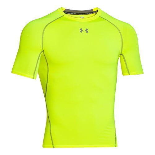 Mens Under Armour HeatGear Compression T Short Sleeve Technical Tops - High-Vis Yellow XL