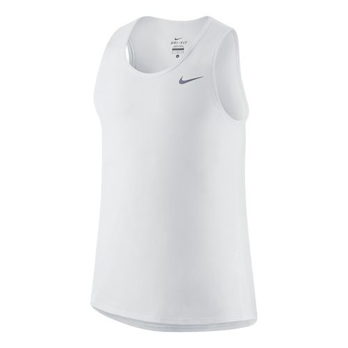 Mens Nike Dri-FIT Contour Singlet Tanks Technical Tops - White XL