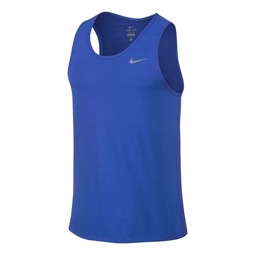 Mens Nike Dri-FIT Contour Singlet Tanks Technical Tops - Royal XL