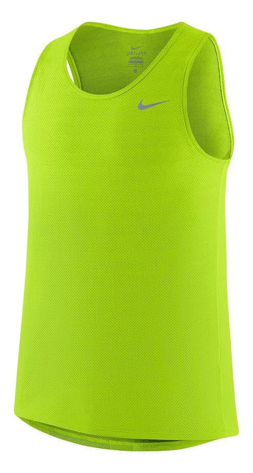 Mens Nike Dri-FIT Contour Singlet Tanks Technical Tops - Volt L