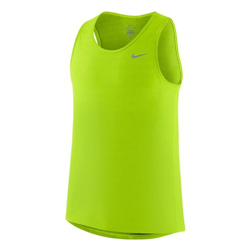 Mens Nike Dri-FIT Contour Singlet Tanks Technical Tops - Volt L