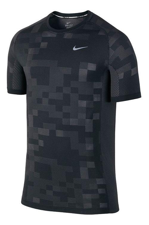 Mens Nike Dri-FIT Knit Contrast Short Sleeve Technical Tops - Black/Dark Grey M