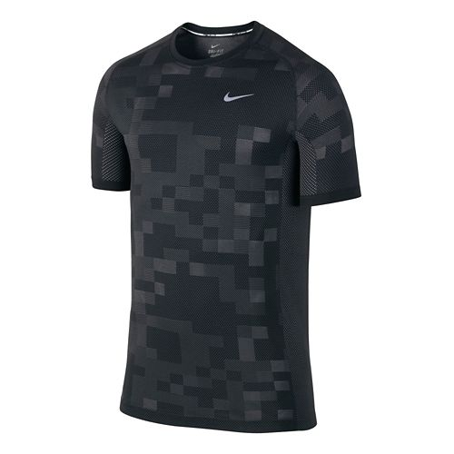 Mens Nike Dri-FIT Knit Contrast Short Sleeve Technical Tops - Black/Dark Grey M