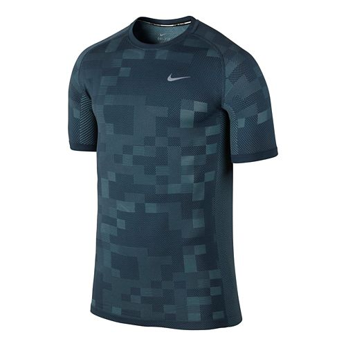 Mens Nike Dri-FIT Knit Contrast Short Sleeve Technical Tops - Squadron Blue M