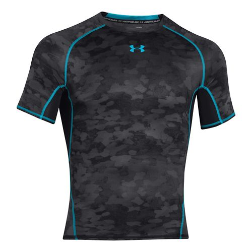 Mens Under Armour HeatGear Compression Printed T Short Sleeve Technical Tops - Black/Island ...