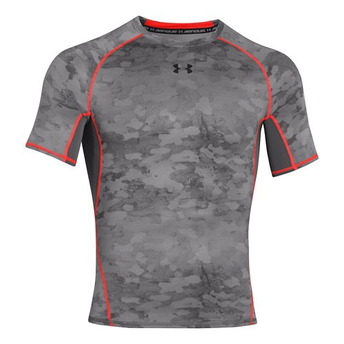 Mens Under Armour HeatGear Compression Printed T Short Sleeve Technical Tops - Graphite/Bolt ...
