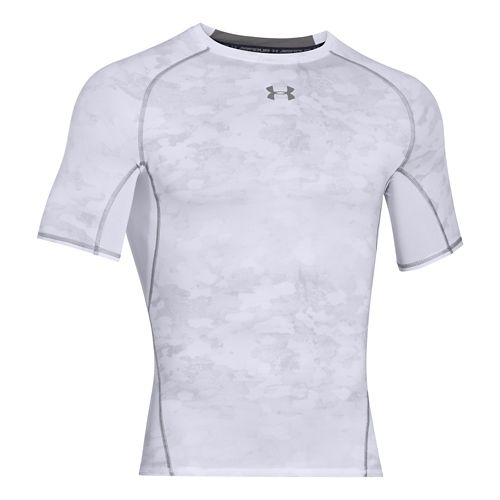 Mens Under Armour HeatGear Compression Printed T Short Sleeve Technical Tops - White/Graphite XL