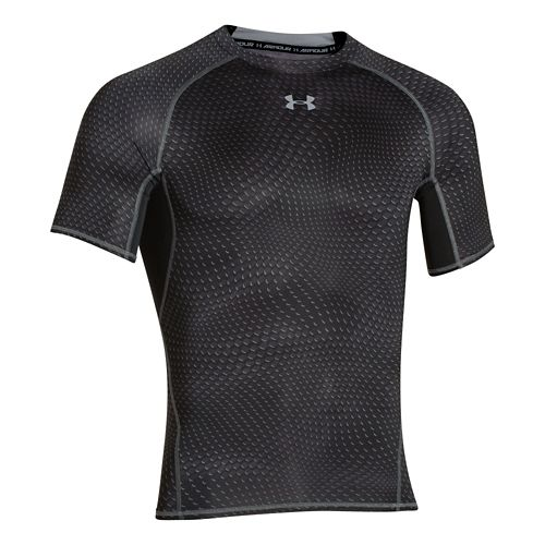 Mens Under Armour HeatGear Compression Printed T Short Sleeve Technical Tops - Black/ Steel L ...
