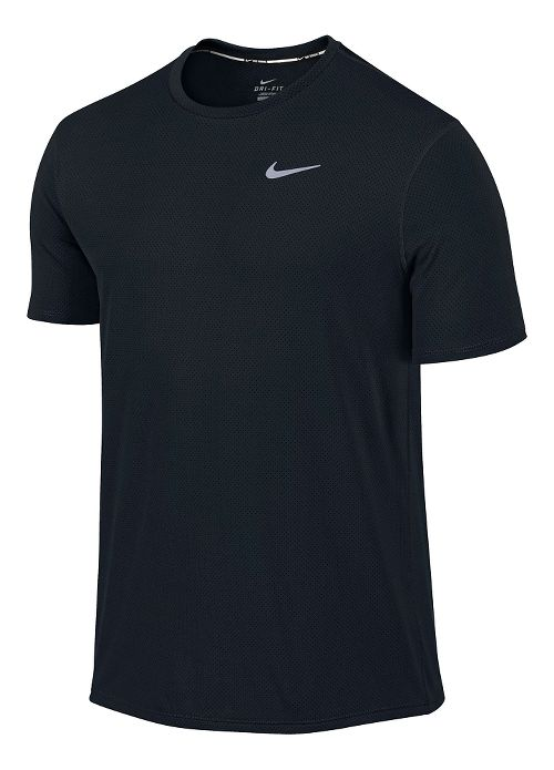 Mens Nike Dri-FIT Contour Short Sleeve Technical Tops - Black S