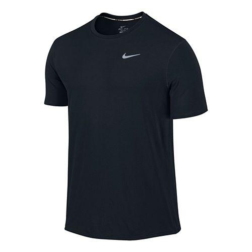 Mens Nike Dri-FIT Contour Short Sleeve Technical Tops - Black M