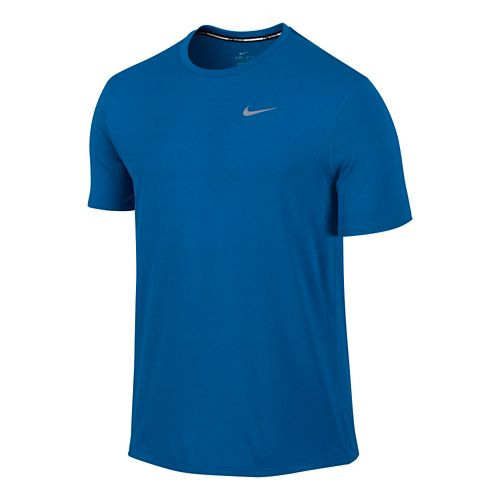 Mens Nike Dri-FIT Contour Short Sleeve Technical Tops - Imperial Blue L