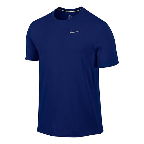 Mens Nike Dri-FIT Contour Short Sleeve Technical Tops - Deep Royal Blue M