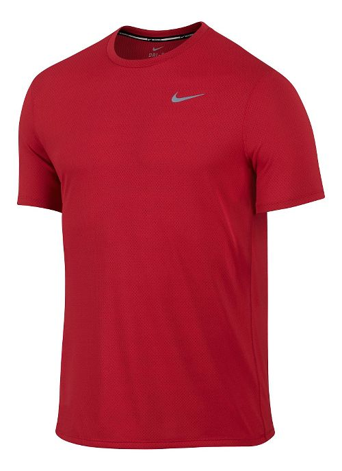 Mens Nike Dri-FIT Contour Short Sleeve Technical Tops - University Red XL