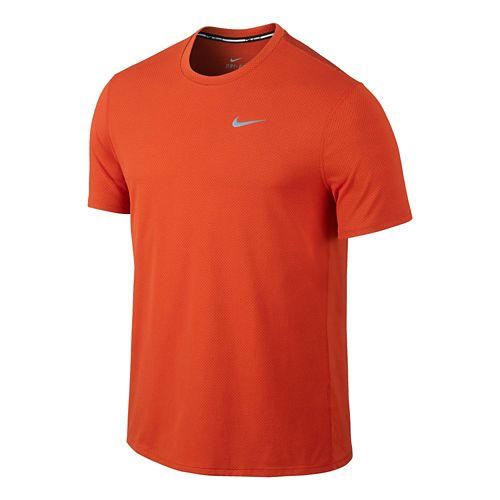 Mens Nike Dri-FIT Contour Short Sleeve Technical Tops - Orange M