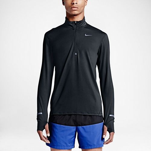 Mens Nike Dri-FIT Element Long Sleeve Half Zip Technical Tops - Black L