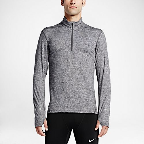 Mens Nike Dri-FIT Element Long Sleeve Half Zip & Hoodies Technical Tops - Dark Grey ...