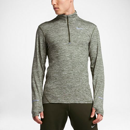Mens Nike Dri-FIT Element Long Sleeve Half Zip & Hoodies Technical Tops - Legion Green ...