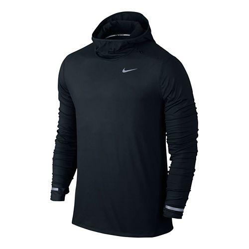 Mens Nike Dri-FIT Element Hoodie Long Sleeve Hooded Technical Tops - Black S