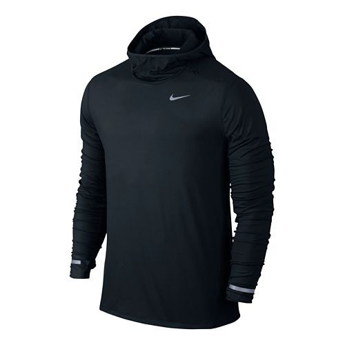 Mens Nike Dri-FIT Element Hoodie Long Sleeve Hooded Technical Tops - Black XL