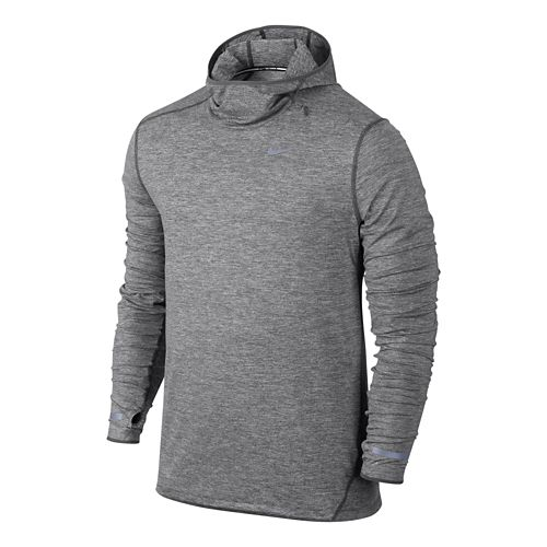 Mens Nike Dri-FIT Element Hoodie Long Sleeve Hooded Technical Tops - Dark Grey M