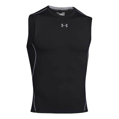 Mens Under Armour HeatGear Compression Sleeveless T Short Sleeve Technical Tops - Black 3XL