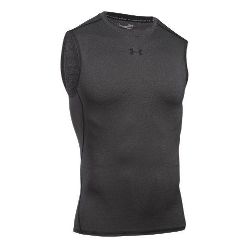 Mens Under Armour HeatGear Compression Sleeveless T Short Sleeve Technical Tops - Carbon ...