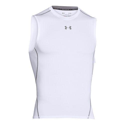 Mens Under Armour HeatGear  Sleeveless Short Sleeve Technical Tops - White M