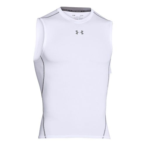 Mens Under Armour HeatGear Compression Sleeveless T Short Sleeve Technical Tops - White S