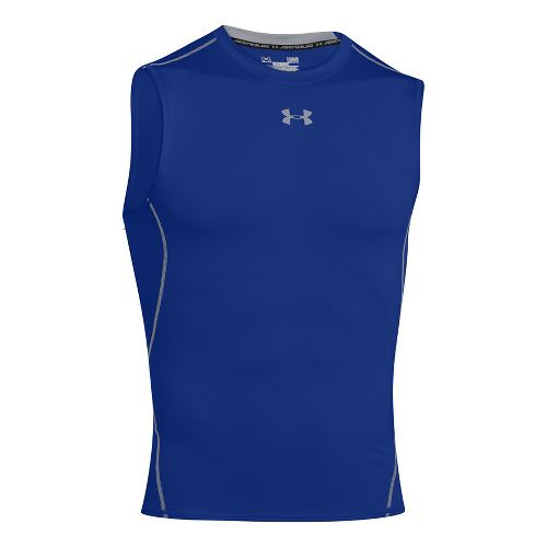 Mens Under Armour HeatGear Compression Sleeveless T Short Sleeve Technical Tops - Rough L