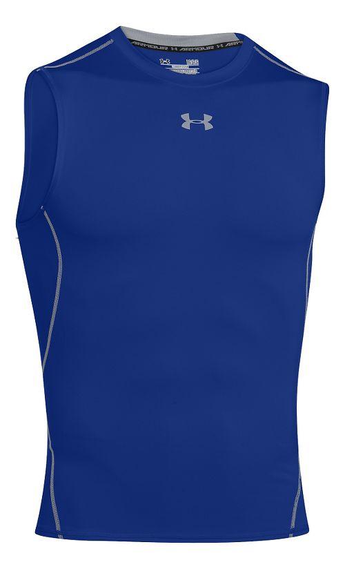 Mens Under Armour HeatGear Sleeveless Short Sleeve Technical Tops - Royal XXL