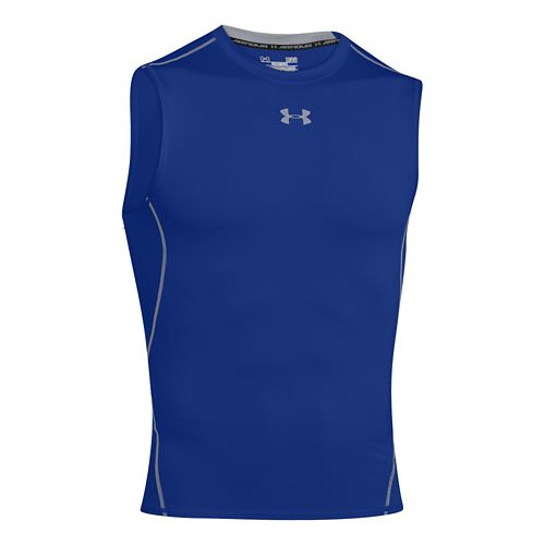 Mens Under Armour HeatGear Compression Sleeveless T Short Sleeve Technical Tops - Royal M