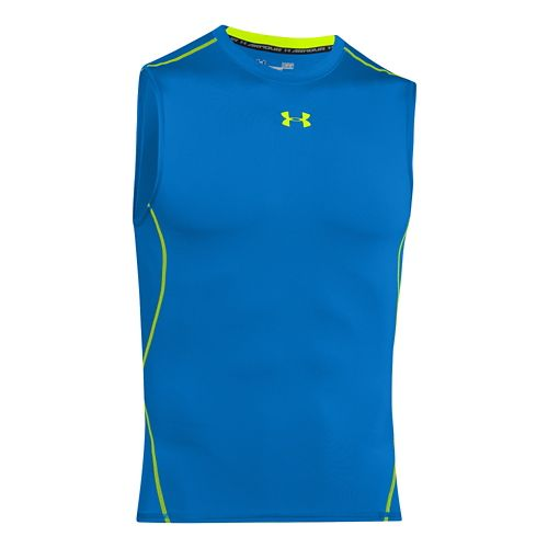 Mens Under Armour HeatGear Compression Sleeveless T Short Sleeve Technical Tops - Blue Jet S ...