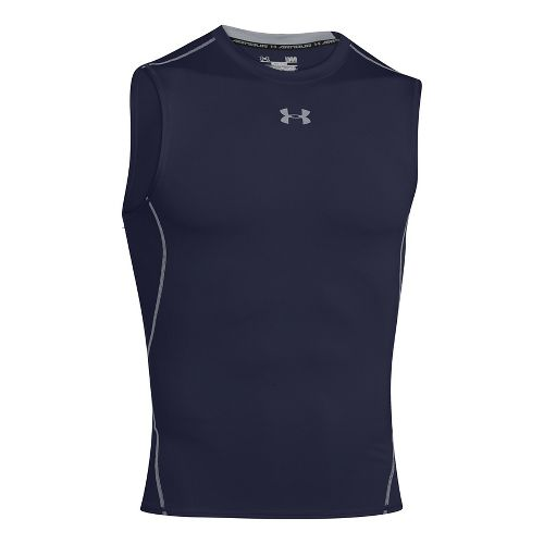 Mens Under Armour HeatGear Compression Sleeveless T Short Sleeve Technical Tops - Midnight Navy ...