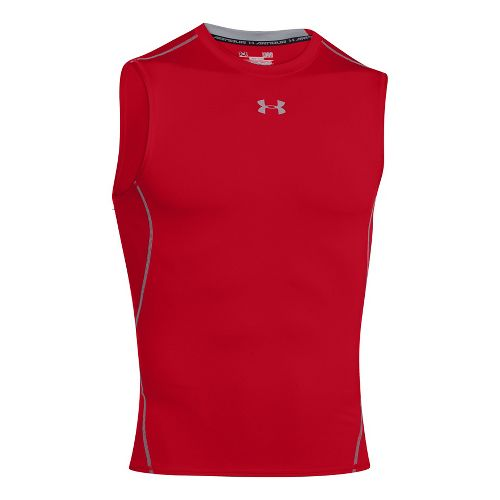 Mens Under Armour HeatGear Compression Sleeveless T Short Sleeve Technical Tops - Red 3XL