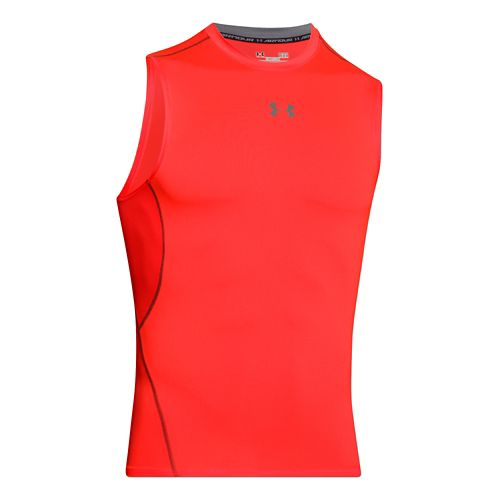 Mens Under Armour HeatGear Compression Sleeveless T Short Sleeve Technical Tops - Bolt Orange ...