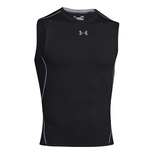 Mens Under Armour HeatGear Compression Sleeveless T Short Sleeve Technical Tops - Bolt Orange S ...