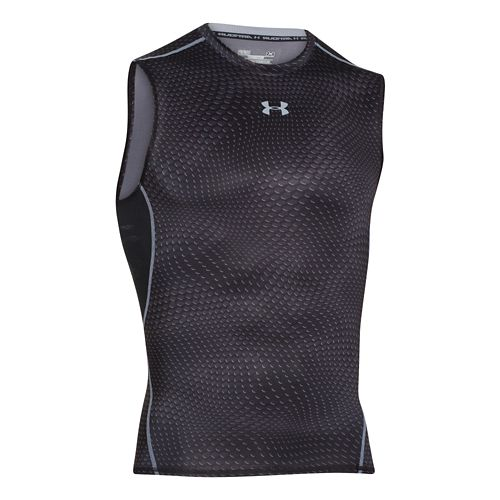 Mens Under Armour HeatGear Compression Printed T Sleeveless Technical Tops - Black/Steel 3XL