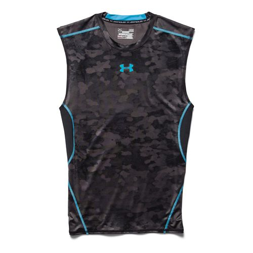 Mens Under Armour HeatGear Compression Printed T Sleeveless Technical Tops - Black/Island Steel M