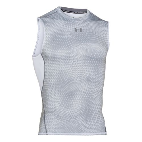 Mens Under Armour HeatGear Compression Printed T Sleeveless Technical Tops - White/Graphite M