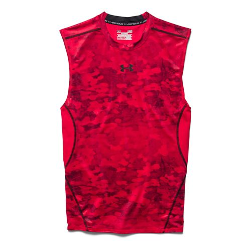 Mens Under Armour HeatGear Compression Printed T Sleeveless Technical Tops - Red XXL