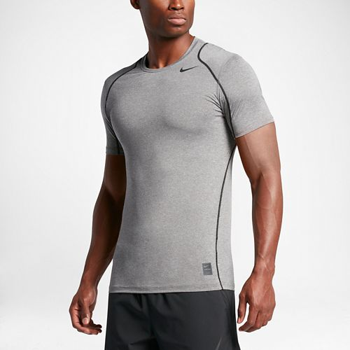 Mens Nike Hypercool Fitted Short Sleeve Technical Tops - Carbon Heather M