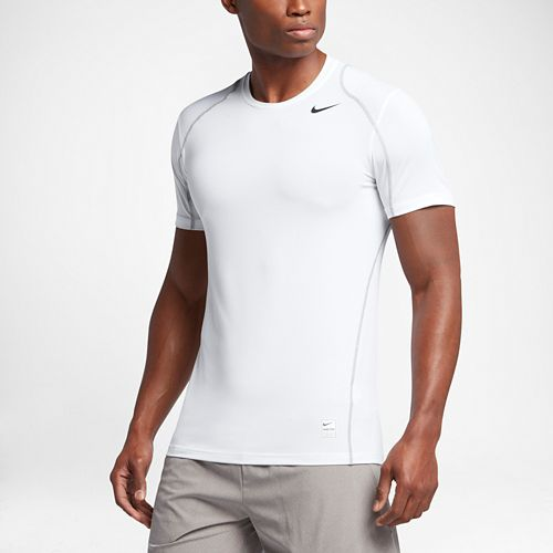 Mens Nike Hypercool Fitted Short Sleeve Technical Tops - White XL