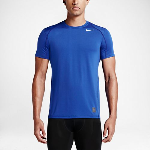 Mens Nike Hypercool Fitted Short Sleeve Technical Tops - Royal L