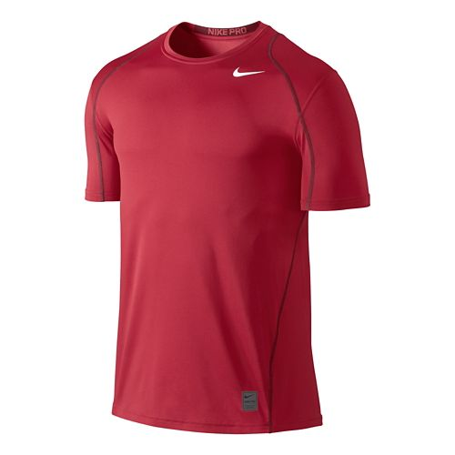 Mens Nike Hypercool Fitted Short Sleeve Technical Tops - Gym Red M