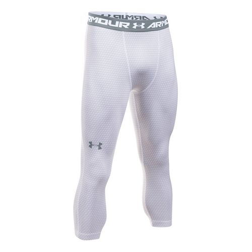 Mens Under Armour HeatGear 3/4 Printed Legging Capris Pants - White/Steel XXLR