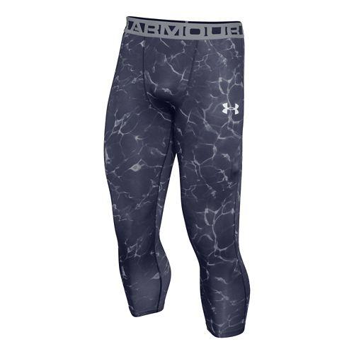 Mens Under Armour HeatGear 3/4 Printed Legging Capri Tights - Midnight Navy 4XL-T