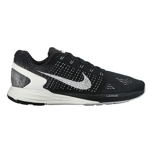 Mens Nike LunarGlide 7 Running Shoe - Black/White 14