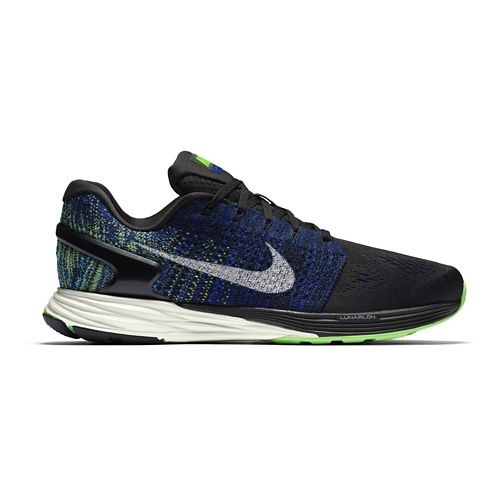 Mens Nike LunarGlide 7 Running Shoe - Black/Blue 10