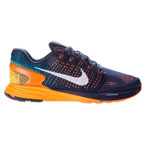 Mens Nike LunarGlide 7 Running Shoe - Navy/Orange 11.5