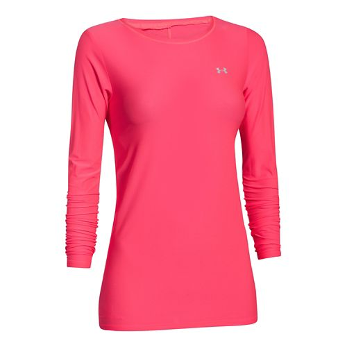 Womens Under Armour Sunblock 30 Long Sleeve No Zip Technical Tops - Pink Shock XL ...